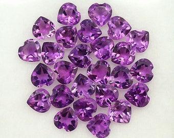 26 Pcs 4 MM Natural Purple Amethyst Heart Cut Loose Gemstone Lot