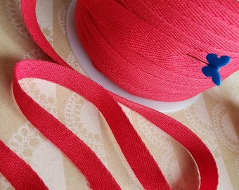 """RED Twill Tape Trim - POLYESTER Sewing Bunting Shipping Packaging - 1/2"""" Wide - 10 Yards"""
