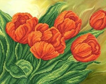 Red Tulips DIY bead embroidery kit Needlepoint beading Housewarming gift idea Needlework Beadwork Sewing craft set