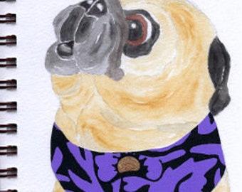 "Pug Print - Sketchbook Series - Watercolor & Collage - ""Gumption"""