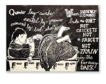 Quimby Lay Awake (original picture book woodblock print)