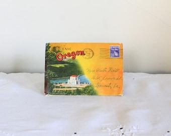 1951 Scenic Oregon Fold Out Postcard