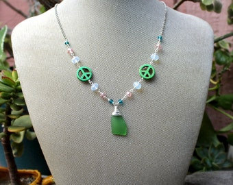 Sea Glass Necklace from Hawaii - Peace Sign Jewelry made in Hawaii - Hippie Necklace - Sea Glass Jewelry - Peace Necklace - Hippie Jewelry