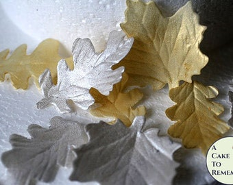 12 Gumpaste Silver and Gold Leaves, silver and gold cake decorations. Christmas wedding cake ideas for cake decorating or DIY wedding cakes
