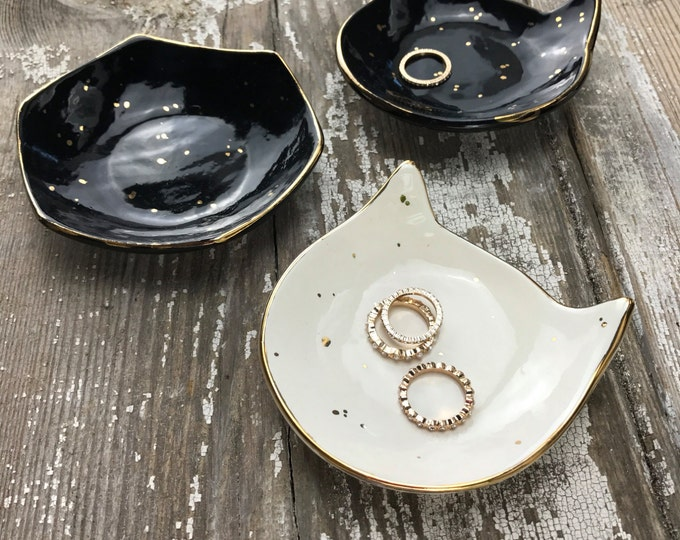 Kitty Cat Jewelry Dish 22k Gold Dish For Jewelry or Anything Else MADE TO ORDER