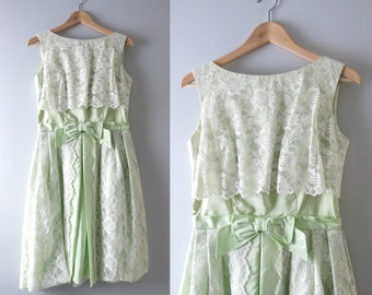 Vintage 50s Green Dress | 1950s Pale Green Taffeta Cocktail Party Dress M