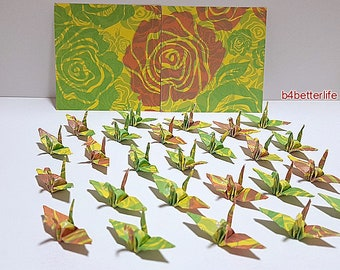 "Lot of 100pcs 1.5"" Floral Design Hand-folded Origami Paper Cranes. (JD Paper Series) #FC15-84d."