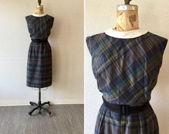 Plaid 50s dress | Vintage cotton plaid dress | 1950s sleeveless navy shift dress
