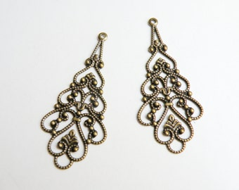 10 Filigree scalloped teardrop connector links antique bronze steampunk component 41x18mm 4740FN