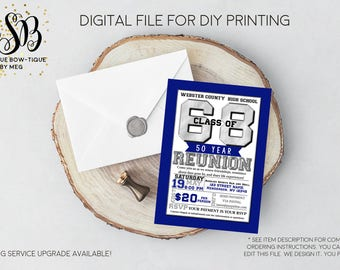 Any Year Class Reunion High School-CHANGE-COLORS Personalized invitation- Digital File...(HS-Reunion2017 Blue)