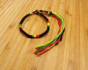 Rasta Bracelet - Rasta Braided Bracelet - Jamaican Bracelet - Rastafari Bracelet - Reggae Bracelet - Jamaican Jewelry - Rasta Man Bracelet