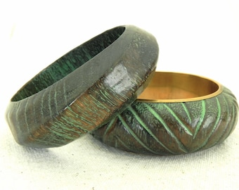 Chunky Carved Bangle Bracelet Pair - Rustic Boho Wood and Brass Bangle Set with Verdigris Patina - Fall Fashion Gifts for Her