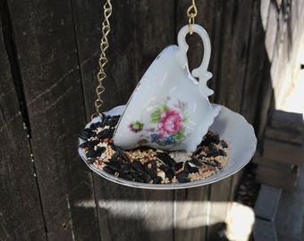 Bird Feeder with Bird's Seed, Bone China Japan, Antique Teacup & Saucer with Single Bag Bird Seed, Gold Trim and Chain, Item #580942364