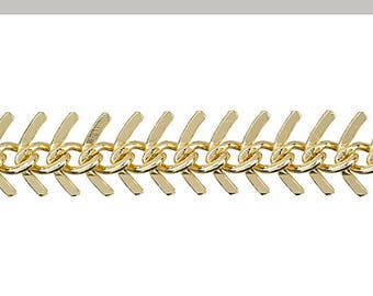 10.5mm Fish Bone Gold Chain, Electro Gold Plated, 1 foot, Hole 20 gauge, .8mm, Necklace, Earring chain - Ch262
