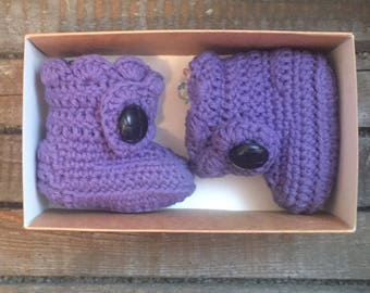 Handmade Baby Booties / purple Boots age 3-6 months