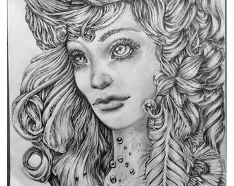Elven Queen, Original Pencil Drawing