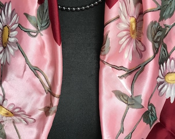 Pomray Handpainted and Hand Rolled Satin Scarf - Vintage Foreign Pink Floral Scarf.