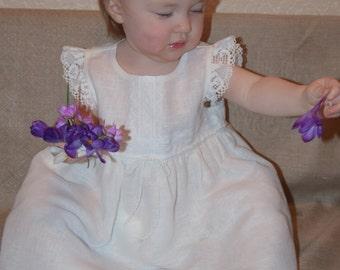 Flower Girls Linen Dress.White Linen Dress for Flower Girls. Flower Girls White Linen Dress.