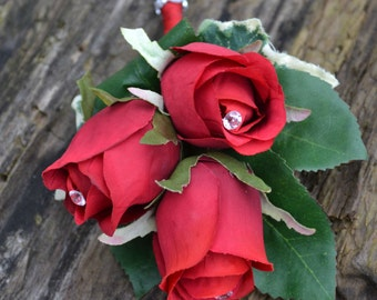 Wedding  Red rose Corsage