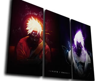 Anime Naruto Sasuke Uchiha Painting Printed on Canvas Wall Art Picture for Home Décor, Contemporary Artwork, Split Canvase, Birthday Gift