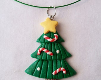 Christmas tree pendant green wire necklace - Christmas pendant - Christmas jewelry - holiday season necklace - tree pendant