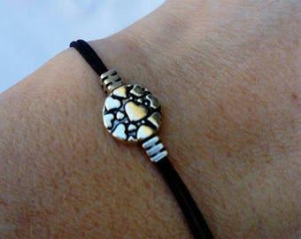 10%-SALE!!!Minimal black bracelet minimal bracelet with silver heart.Festival jewelry.unigue gift.gift for women.hippie jewelry.boho.for mom