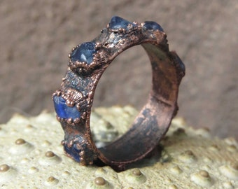 Sapphire ring | Blue sapphire copper ring | Rough sapphire electroformed ring