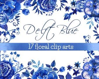 Delft Clipart Blue Watercolor Flowers, delft vintage clipart, delft ceramic motif clipart, delft flowers clip art, hand-painted blue clipart