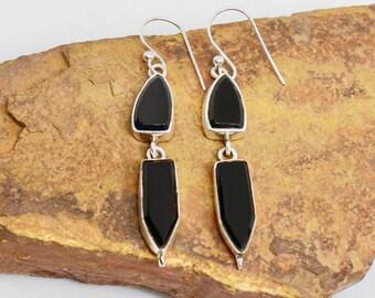 Black Onyx Earrings, 925 Silver Earrings, Sterling Silver, Black Stone Earrings, Gemstone Earrings, Geometric Earrings, Simple Earrings