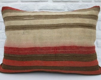 kelim kissen, kilim pillow, 20x28, striped, Turkish pillows, Anatolian, throw, cushion cover, colorful, handmade, lumbar, pillow, woven 50
