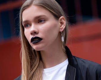 Rose quartz earrings silver long statement earrings spike earrings unique earrings long spike jewelry stone long earrings trendy earrings