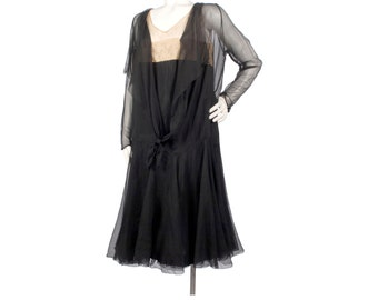 Vintage 20s Dress - 20s Silk Chiffon Dress - Black Silk Chiffon Dress - 20s Chiffon Dress - XL 20s Dress - XXL 20s Dress 20s Flapper Dress