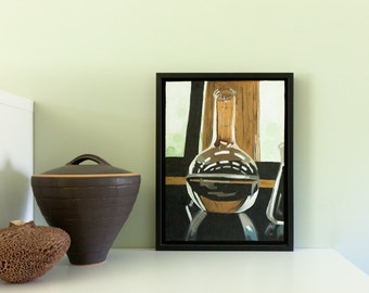 Original Painting Acrylic on Canvas Original Artwork Realism Wall Art Wall Decor Glass Chemistry Flask Florence Flask Science Art Realistic