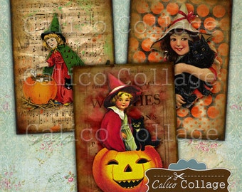 All Hallows Eve, Printable Download, Digital Collage Sheet, 2.5x3.5 ATC Size, Gift Tags, Journaling Spots, Hang Tags, Vintage Halloween