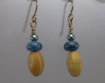 Tigerskin jasper, apatite and Swarovski crystal pearl earrings CHARITY DONATION
