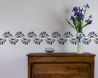 Curved Pattern Vinyl Wall Decal Border for Interior Design