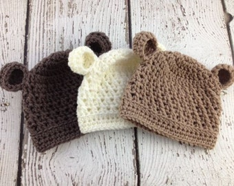 Baby Boy Hat, Baby Boy Beanie, Bear Crochet Hat, Baby Bear Hat, Newborn Bear Hat, Photo shoot Prop, Baby Girl Hat, Crochet Bear Hat