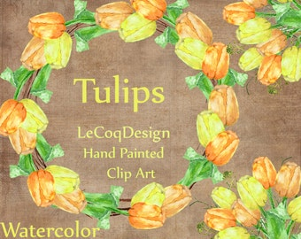 """Tulips flowers clipart: """"FLORAL CLIPART"""" wedding wreath clipart spring floral invitation clipart yellow watercolor flowers spring clip art"""