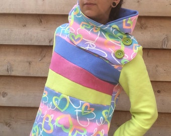 FRIENDSHIP Hoodie Sweatshirt Sweater Handmade Recycled Upcycled One of a Kind - Ladies SMALL - NEON with Pockets Hood Hearts
