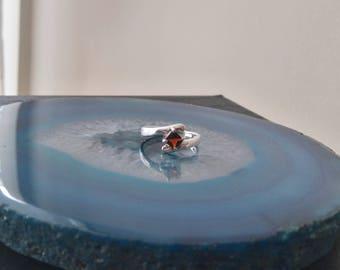 Vintage Spessartite Garnet Sterling Silver Ring, 925, Size 5, orange brown gemstone