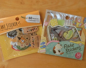 Animal flake stickers (Sleeping animals/ Message)