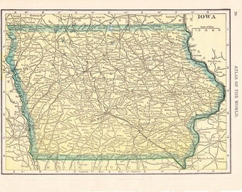1909 State Map Iowa - Vintage Antique Map Great for Framing 100 Years Old