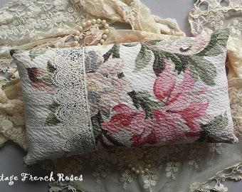Paris Flea Market Pillow Vintage Cream Pink Floral Barkcloth Venetian Lace Romantic Cottage Shabby Chic French Farmhouse Style