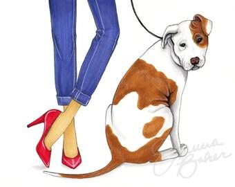Preppy Pit Bull Fashion Illustration Art Print / Dog Wall Art, Fashion Sketch Art, Fashion Art Print, Fashion Wall Art, Pit Bull Art Print