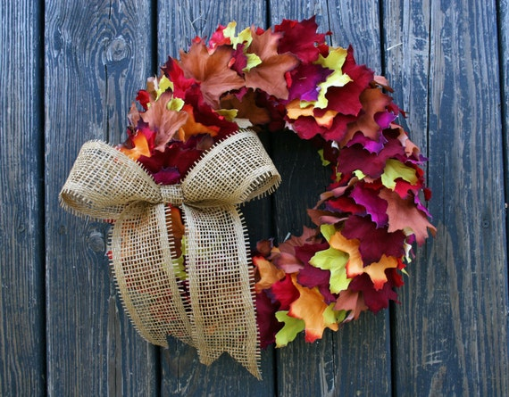 Leaf Wreath, Fall Leaf Wreath, Colorful Leaf Wreath