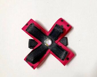 Toddler Child Pink black Polka Dot Hair Ribbon, Bow, hair Clip, Gift, Pigtails