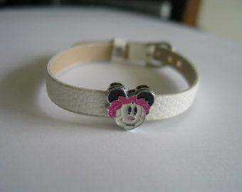 Mouse - Girl charm white watch band bracelet - gift children - gift girls - mouse bracelet girls - children bracelet - mouse jewelry charm