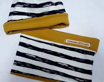 Reversible hat + Wendeloop SET, Wendebeanie for kids, striped baby hat, strip, beanie to apply for children, mustard yellow,