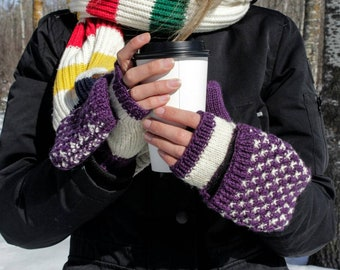 Warm Violet And White Convertible Mittens, Mittens With Fleece, Hand Knit Mittens, Wool Woman Mittens, Winter Mittens, Free Shipping
