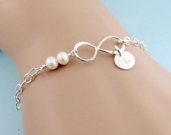 Personalized Infinity Bracelet, freshwater pearl, initial, infinity jewelry